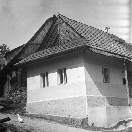Obytný dom Horné Pršany. Prízemný dvojosový dom, murovaný, omietnutý, strecha sedlová, krytina šindľová. © Igor Thurzo, 1955