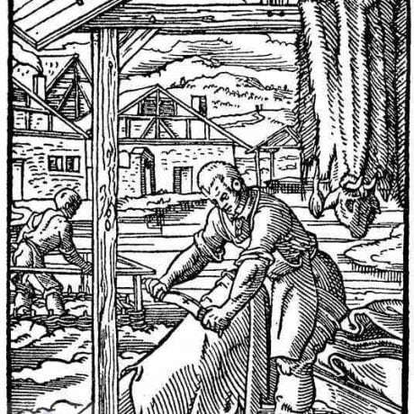 Garbiari pri práci. Nemecko, 16. storočie. Prevzaté z Amman, J.