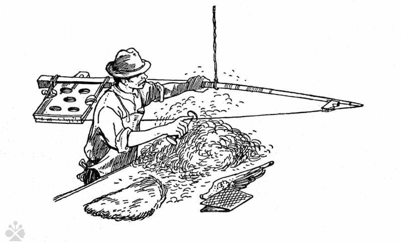 Fachovanie - ukladanie vlny do vrstvy (fach), z ktorej sa plstil klobúk. Na fachovanie slúžil nástroj nazývaný strela. Bardejov (okr. Bardejov), 1. polovica 20. storočia. Prevzaté z Apáthy, Š.: Klobučníctvo a kapčiarstvo v Hornom Šariši. In: Sborník Slovenského národného múzea, roč. 46-54, 1952-1960, 81.