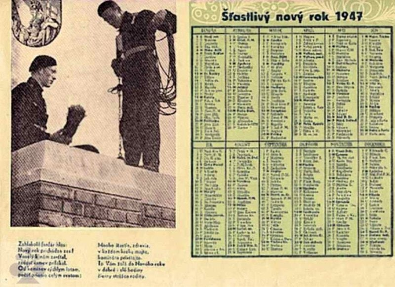 Nástenný kalendár, na rok roku 1947, s kominármi. Súkromný archív M. Kaľavského. Foto M. Kaľavský.
