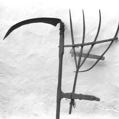 Obilná kosa. Jabloňové, okr. Malacky. Foto P. Slavkovský, 1972. Archív negatívov Ústavu etnológie SAV.