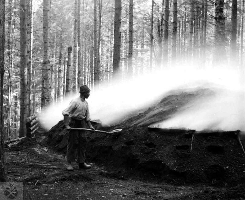Pálenie dreveného uhlia. Čierny Balog (okr. Brezno), 1930