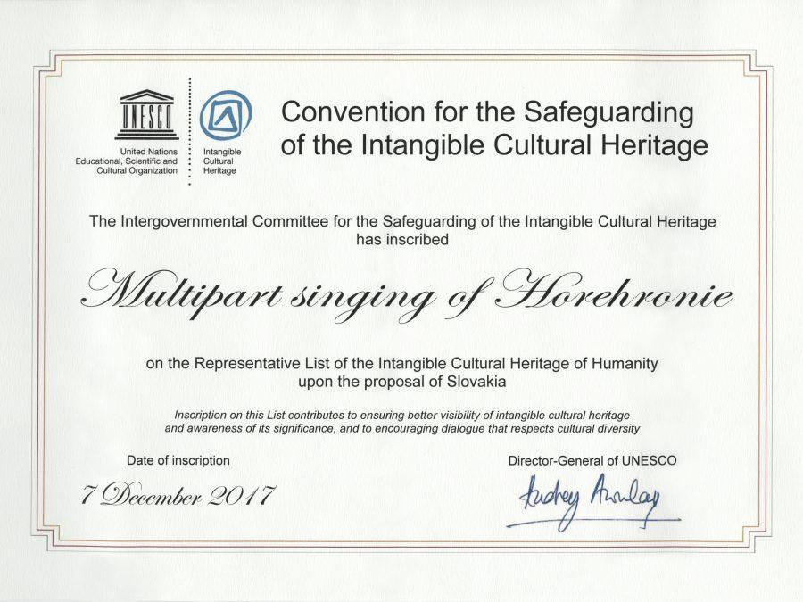 Horehronský viachlasný spev certifikát UNESCO