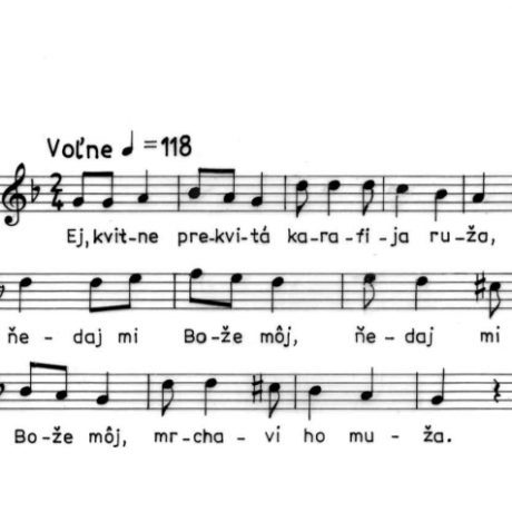 Svadobná pieseň do kolesa (modálna vrstva). Podhorie (okr. Banská Štiavnica), 1991.