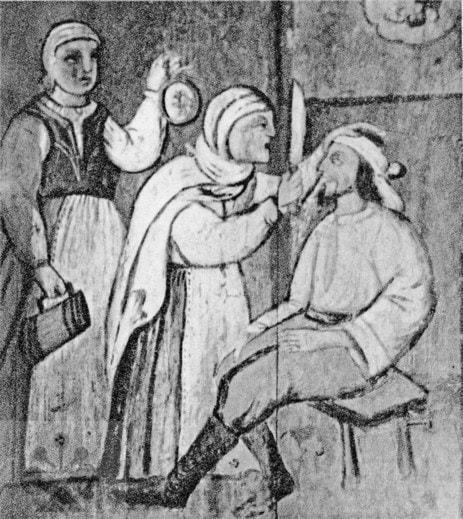 Oravská vedomkyňa pri zaklínaní na maľbe z Orávky (okr. Rimavská Sobota), 17. storočie. Prevzaté z: Slovensko, Ľud II. Bratislava 1975, 1028
