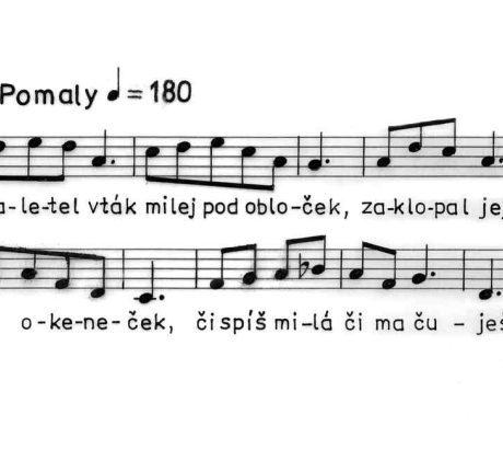Zaletel vták... Ľúbostná baladická pieseň z obce Sirk (okr. Revúca), 1963.