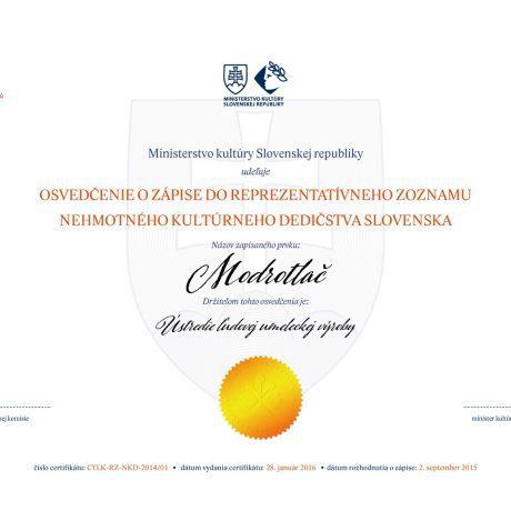 Certifikát o zapísaní modrotlače do Reprezentatívneho zoznamu NKD Slovenska.