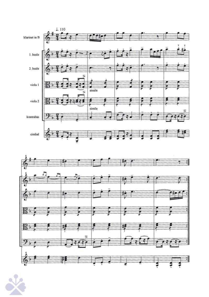 Zápis cimbalovej hudby s klarinetom, primáš Ján Hluchý, Myjava. Zapísala L. Mikušová  2006.