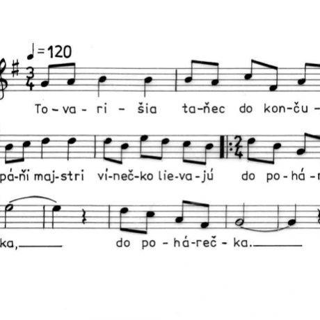 Pieseň k debnárskemu tancu. Ľubietová (okr. Banská Bystrica), 1953.