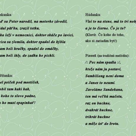 Súčasný detský folklór. Zapísala Z. Vanovičová.