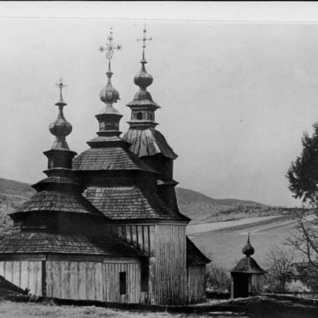 Kostol východného obradu v Nižnom Mirošove (okr. Svidník). SNM Etnografické múzeum v Martine. Foto K.Plicka.