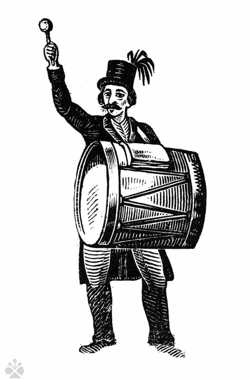 Veľký bubon na trhu. Obrazec podľa drevorytu  viedenského rytca uverejnený v kalendári tlačenom v Skalici r. 1847.  Prevzaté z  Kovačevičová, S.: Knižný drevorez v ľudovej tradícii. Tatran, Bratislava 1974, s. 181
