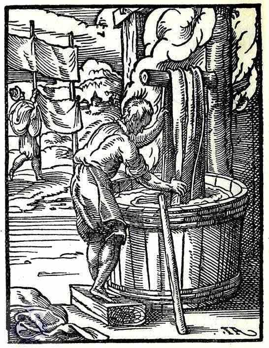 Farbiar pri práci. Nemecko, 17. storočie. Prevzaté z Weigel, Ch.: Abbildung Der Gemein-Nützlichen Haupt-Stände Von denen Regenten [...]. Regensburg 1698, 47.
