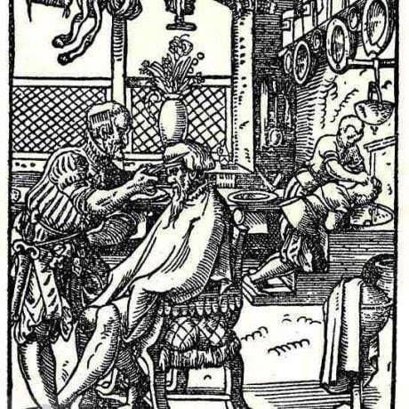 Strihanie a umývanie vlasov v holičskej dielni. Nemecko, 17. storočie. Prevzaté z Weigel, Ch.: Abbildung Der Gemein-Nützlichen Haupt-Stände Von denen Regenten [...]. Regensburg 1698, 51.