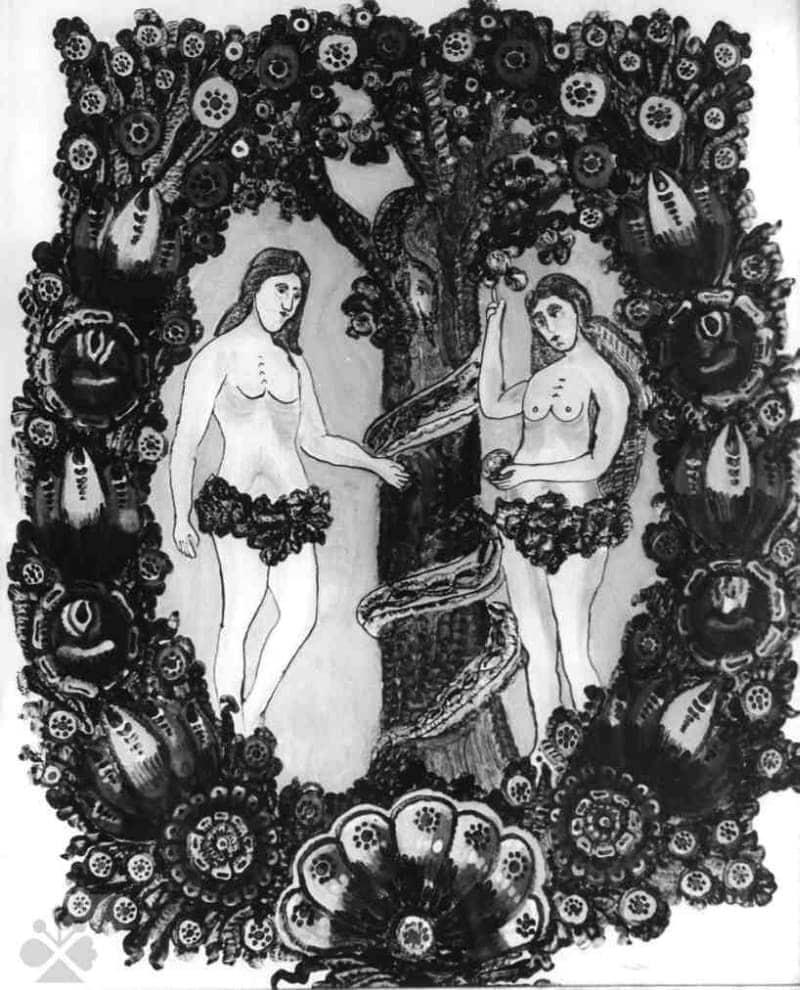 Adam a Eva. Maľba na skle od A. Salzmana. Pata (okr. ), 1. polovica 20. storočia. Archív negatívov Ústavu etnológie SAV, reprodukcia H. Bakaljarová..