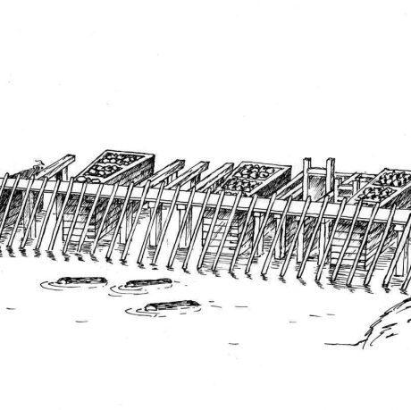 Hrable na zachytávanie dreva na vodnom toku. Stredné Slovensko