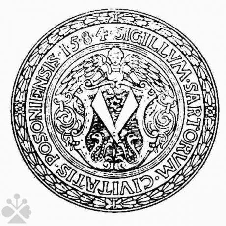 Pečať bratislavských krajčírov z roku 1584. Prevzaté z Bratislavské krajčírske remeslo, Bratislava 1927.