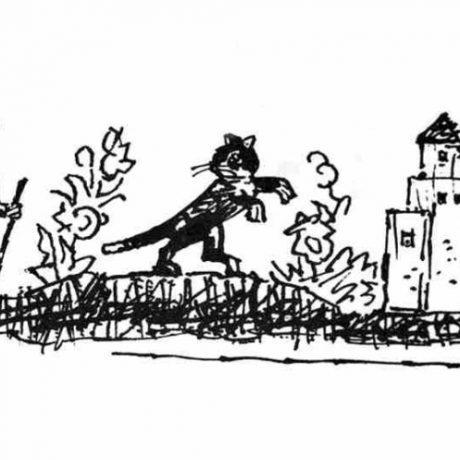 Zakliatie bohatej panej na mačku sa stalo motívom slovenskej fantastickej rozprávky Pani Mačička. Ilustrácia Ľ. Fullu v knižnom vydaní Slovenské rozprávky II. Bratislava 1970. Archív negatívov Ústavu etnológie SAV v Bratislave. Reprodukcia: V. Gosiorovský