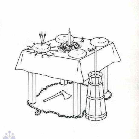 Počas štedrovečerného stolovania boli niektoré, v hospodárstve a domácnosti inak bežne používané predmety využité ako magické prostriedky na zabezpečenie zdravia, súdržnosti či bohatstva rodiny. Papín (okr. Humenné), 20. storočie. Prevzaté z: Etnografický atlas Slovenska. Bratislava 1990, 77