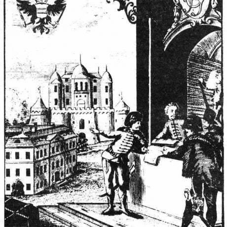 Reklamný plagát manufaktúry Haliči (okr. Lučenec) na súkno, založenej v roku 1676,  s jej vyobrazením. Prevzaté z Špiesz, A.: Remeslá, cechy a manufaktúry na Slovensku. Martin 1983, 111.