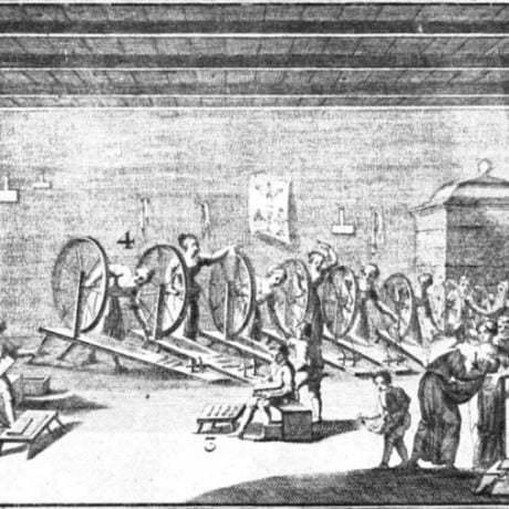 Pradiareň v manufaktúre v Hornom Litvínove v Čechách. List z albumu z roku 1728. Prevzaté z Klíma