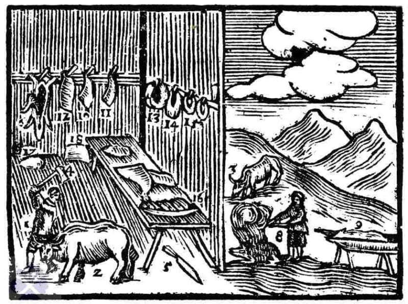 Mäsiari pri práci. Drevorez z roku 1679. Prevzaté z Kovačevičová, S.: Človek tvorca. Bratislava1987, 105.