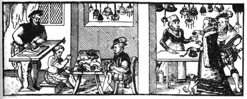Mieškárska dielňa a krám. Prevzaté z Špiesz, A.: Remeslá, cechy a manufaktúry na Slovensku. Martin 1983, 99.