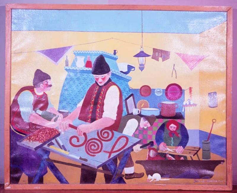 M. Jonáš. Výroba klobás. 60. roky. Archív diapozitívov Ústavu etnológie SAV. Foto T. Ševčíková