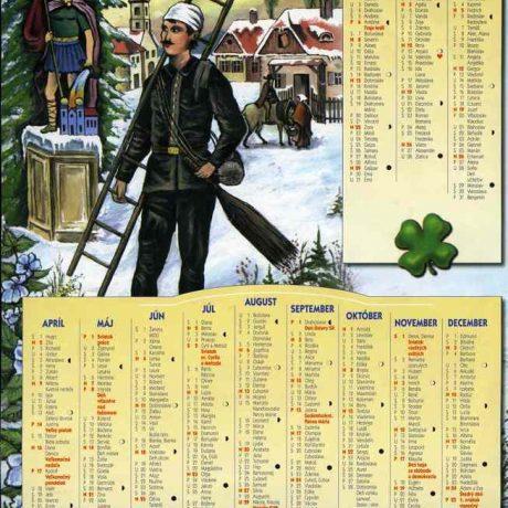 Kominársky kalendár na rok 2006. Na Slovensku je zvykom, že k novému roku kominári darujú v domoch, kde čistia komín, nástenný kalendár. Okrem postavy kominára a sochy svätého Floriána ako patróna hasičov sú na ňom zobrazené i kominárske nástroje a zelený ďatelinový štvorlístok ako symboly šťastia. Súkromný archív