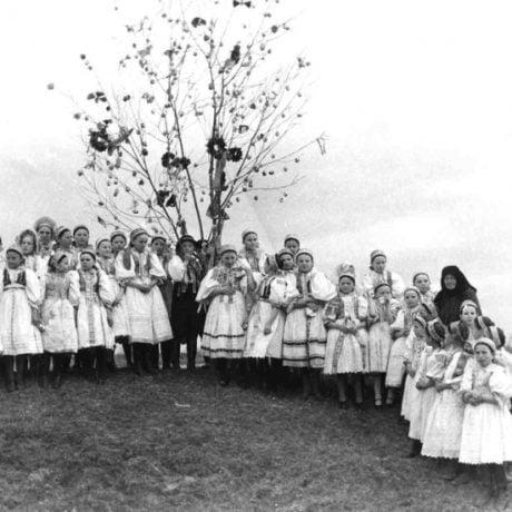 Chodenie s lesolou na Kvetnú nedeľu, Vajnory (okr. Bratislava). Archív negatívov SNM Martin, foto K. Plicka, 1. polovica 20. storočia.