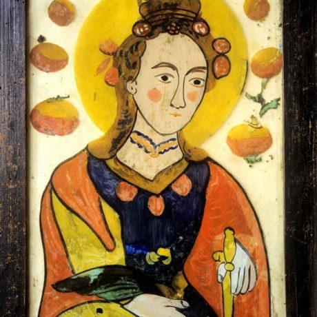 Svätá Katarína. Obraz na skle. Slovensko, 19. storočie. SNM Etnografické múzeum v Martine. Foto H. Bakaljarová