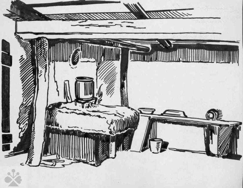 Ohnisko, Zamutov, okr. Vranov nad Topľou, 1950. Kresba: Dušan Oravec. Archív kresieb Ústavu etnológie SAV v Bratislave