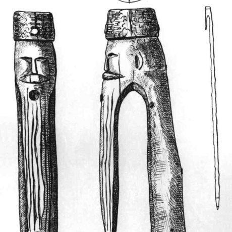 Rukoväť palice. Hontianske Moravce (okr. Krupina). SNM Etnografické múzeum v Martine. Kresba M. Babjaková