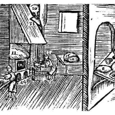 Pekári pri preosievaní múky a miesení cesta. Drevorez J. Bubenku z roku 1679. Prevzaté z Kovačevičová, S.: Človek tvorca, Veda Bratislava 1987, 102.