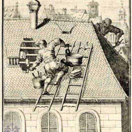 Pokrývači. Nemecko, 17. storočie. Prevzaté z Weigel, Ch.: Abbildung Der Gemein-Nützlichen Haupt-Stände Von denen Regenten [...]. Regensburg 1698, [420a].
