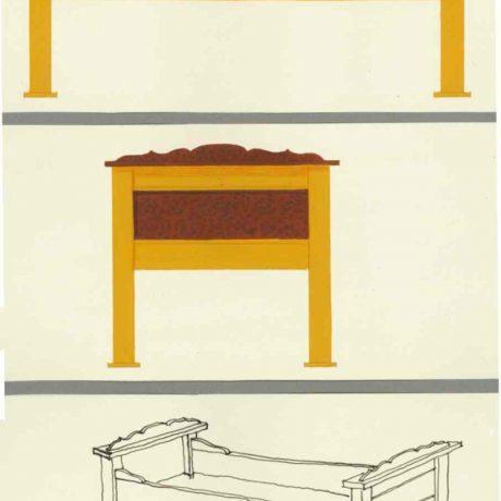 Posteľ, Jabloňovce, okr. Levice, 1972. Kresba: B. Šilingerová. Archív kresieb Ústavu etnológie SAV v Bratislave