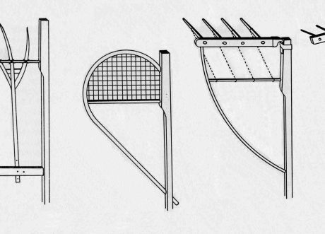 Typy prídavných zariadení na obilnú kosu. Autor A. Mann.  Prevzaté z Slavkovský