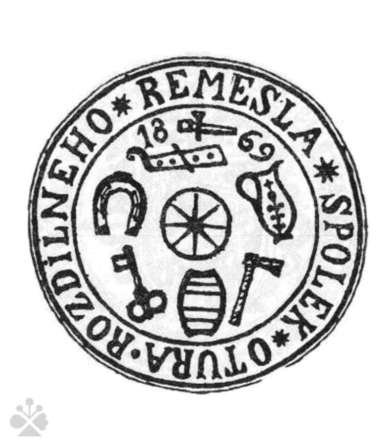 Pečať spolku remeselníkov v Starej Turej (okr. Nové Mesto nad Váhom) z roku 1869. Prevzaté z Špiesz, A.: Remeslá, cechy a manufaktúry na Slovensku. Martin 1983, 166.