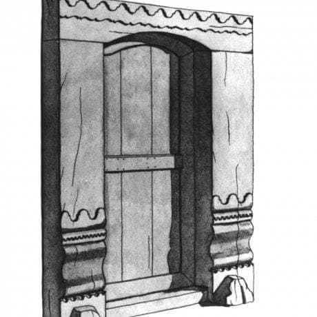 Rezbárska výzdoba brány. Hronské Kľačany (okr. Levice)