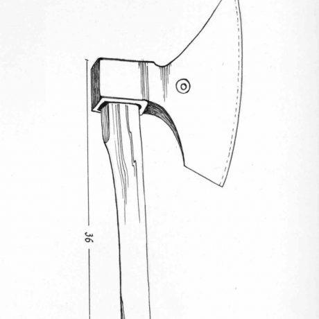 Tesárska sekera s krátkym poriskom. Pohorelá (okr. Brezno)