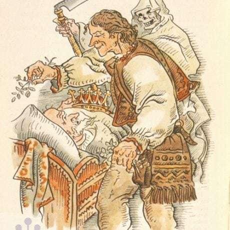 Smrť v ilustrácii M. Benku k rozprávke Smrť kmotra a zázračný lekár. Prevzaté z Dobšinský, P.: Prostonárodné slovenské povesti. Bratislava 1958, 242