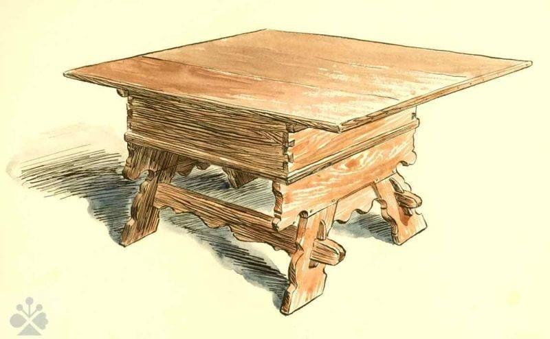 Stôl s hlbokou zásuvkou, Telgárt, okr. Brezno, 1960. Kresba: Josef Schejbal. Archív kresieb Ústavu etnológie SAV v Bratislave