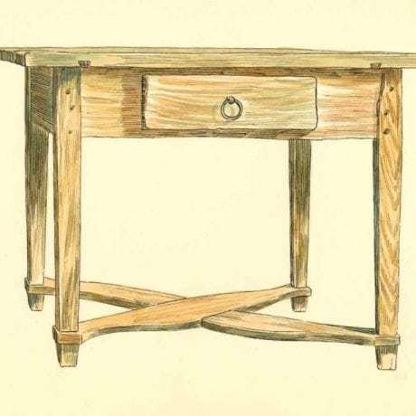 Stôl s rovným podstolím, Telgárt, okr. Brezno, 1960. Kresba: Josef Schejbal. Archív kresieb Ústavu etnológie SAV v Bratislave