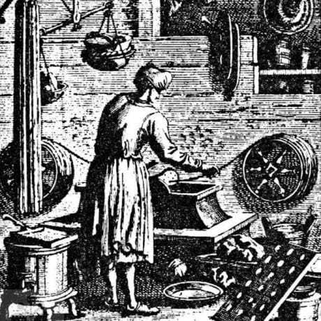 Sviečkár pri výrobe sviečok. Prevzaté zo Špiesz: Remeslá, cechy a manufaktúry na Slovensku. Martin 1983, 47.