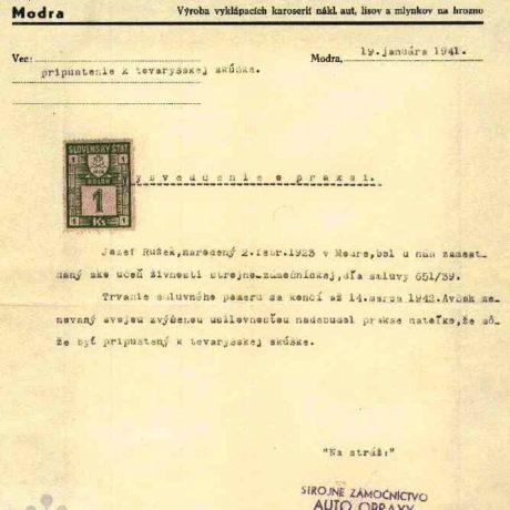 Vysvedčenie o praxi pre tovarišskú skúšku z roku 1941. Súkromný archív M. Kaľavského. Foto M. Kaľavský.