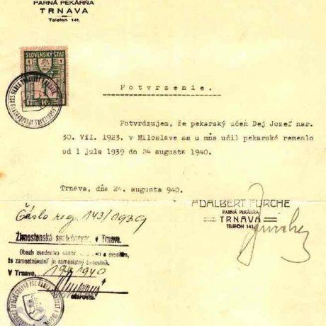 Potvrdenie o učňovskom pomere Jozefa Deja z roku 1940. Súkromný archív M. Kaľavského. Foto M. Kaľavský.