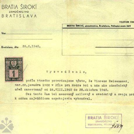 Osvedčenie o učňovskom pomere vo zámočníckej firme Zámočníctvo Bratia Širokí. Bratislava (okr. Bratislava 1-5), 1940. Súkromný archív M. Kaľavského. Foto M. Kaľavský.