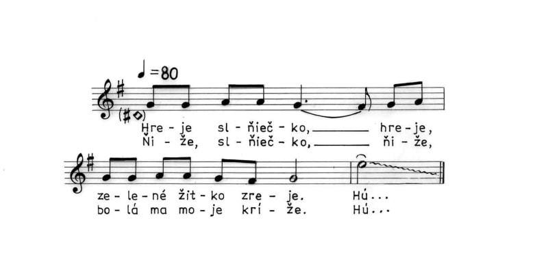 Žatevná pieseň. Trenčianske Jastrabie (okr. Trenčín), 1988.