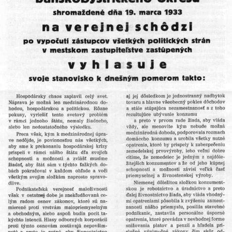 Stanovisko banskobystrického živnostníctva ku kríze, 1933. Súkromný archív. Foto M. Kaľavský.