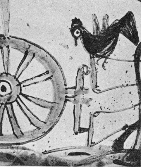 Zmok v podobe čierneho kuraťa sediaceho na pluhu. Detail maľby na fajansovom džbáne z 19. storočia. Nelokalizované. Prevzaté z: Slovensko. Ľud II. Bratislava 1975, 1045.